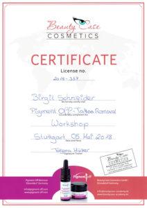 Zertifikat-Entfernung von Permanent makeup